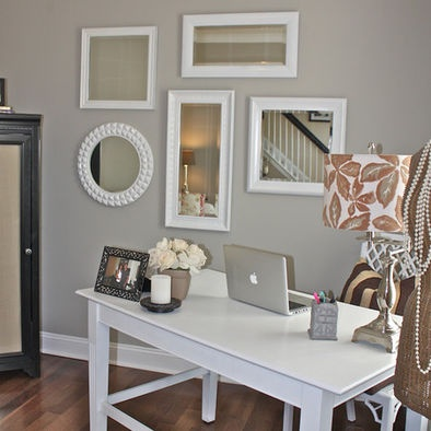 Mirror collage... spare room idea. I like the way the desk is set away from the wall.