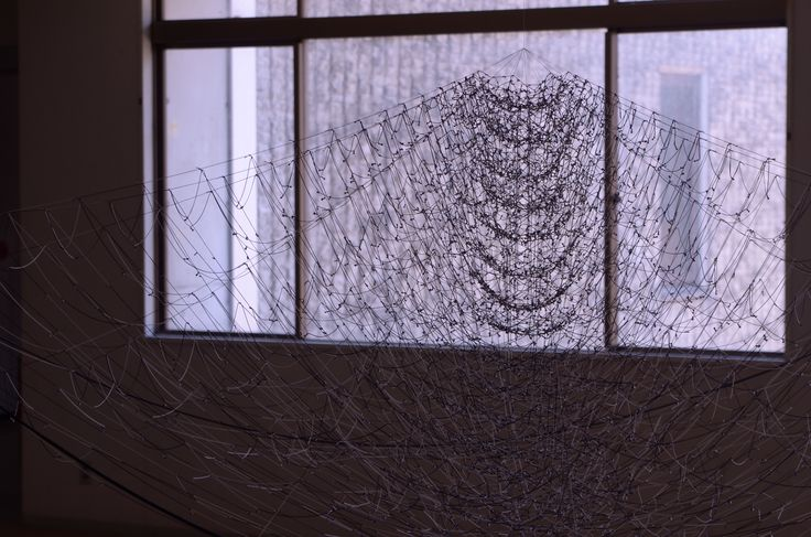 Akane Yorita, The Tender Noise, rayon threads, plastic pole, stainless steel pipe, H110xW300xD280, 2014 (detail)
