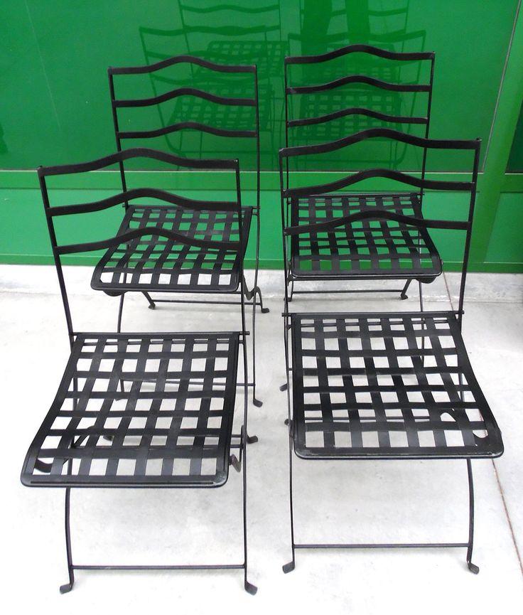 4 sedie da giardino richiudibili verniciate nere in ferro '900