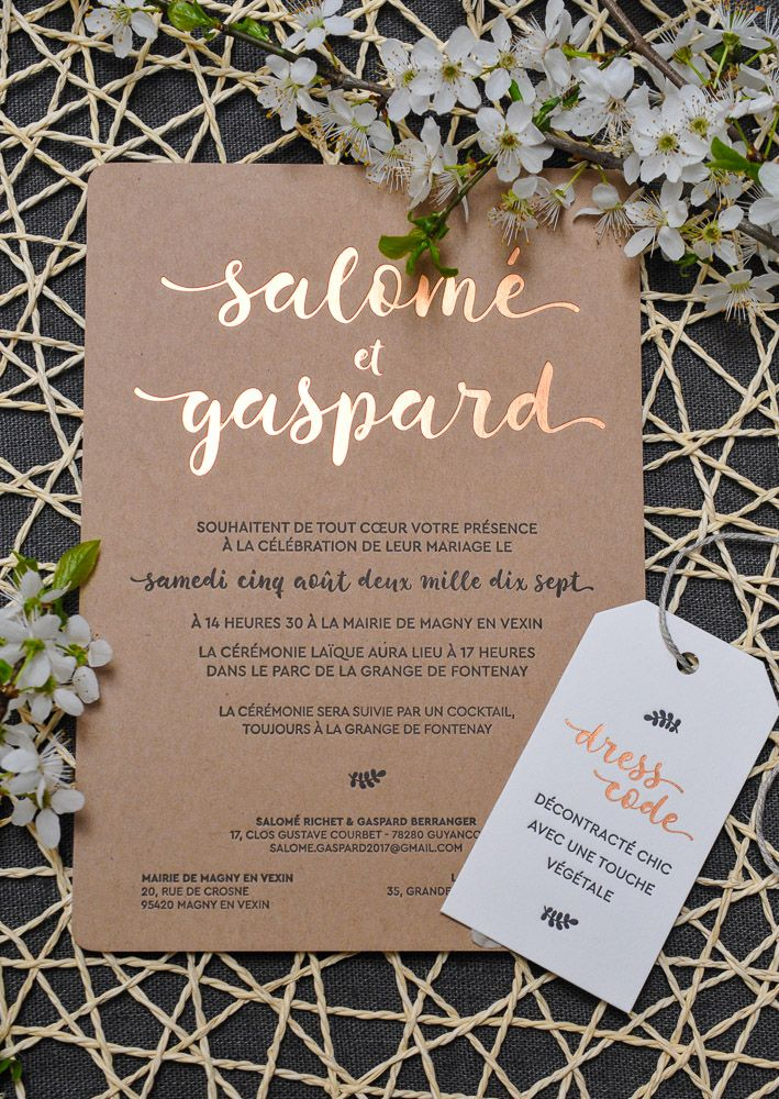 "Faire-part de Mariage ""Champêtre"" en Letterpress et dorure à chaud Cuivre sur papier Kraft, accompagné d'une étiquette Dress Code /// Rustic Wedding Invitation in Letterpress and Copper Hotfoil on recycled paper, with Dress Code Tag"