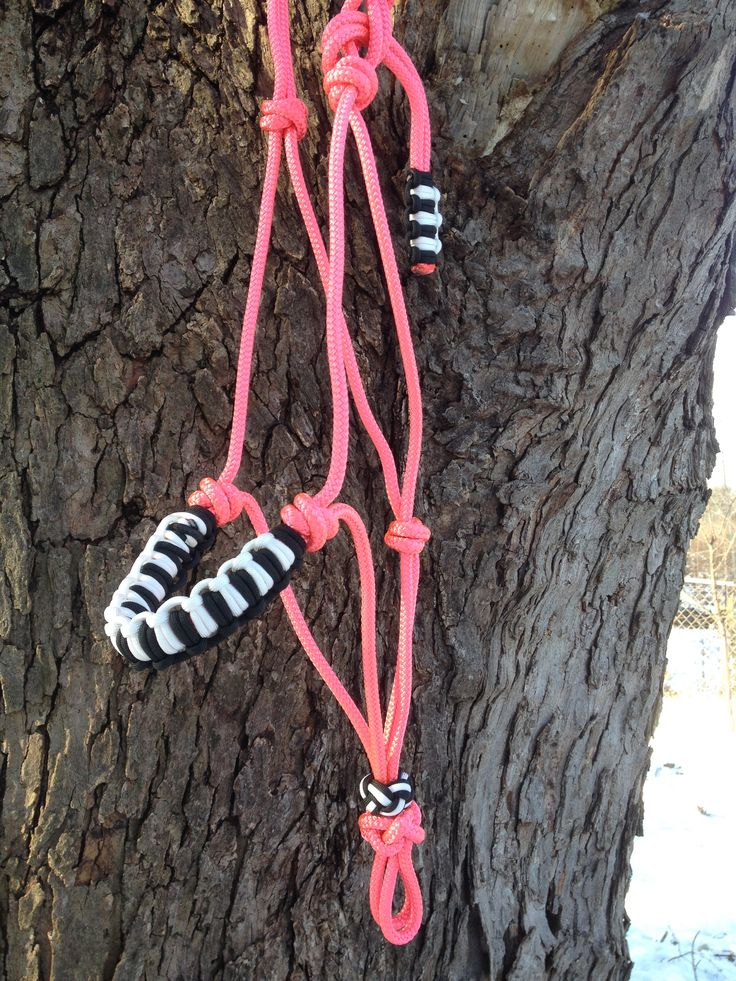 rope horse halter in pink with paracord braided noseband