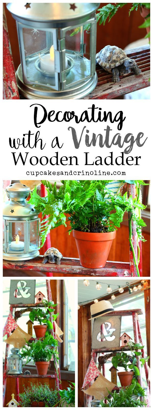 Decorating with a Vintage wooden ladder - more photos and ideas at cupcakesandcrinol...