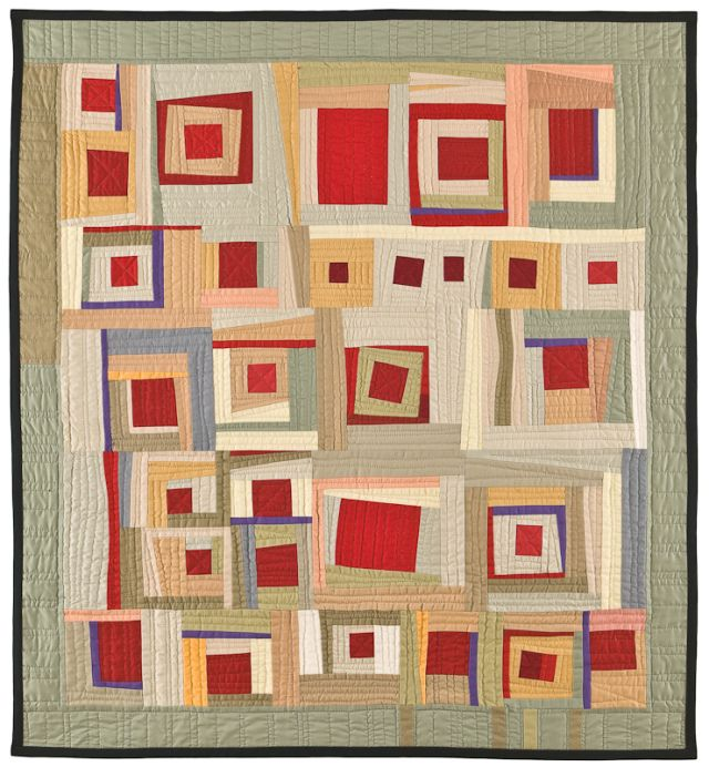 """Red Square VI (39"""" x 42""""), made and hand quilted by Gwen Marston, 2008"""