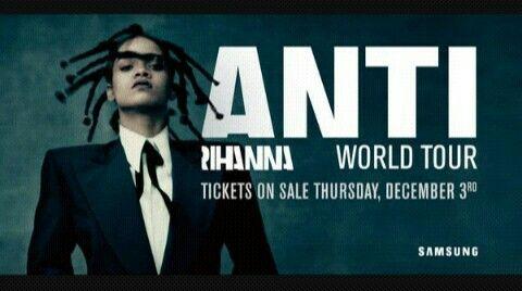 """Rihanna vient d'annoncer sur son compte Twitter que le """"ANTI World Tour"""" débutera en février 2016. Elle sera accompagnée par Travis Scott en Amérique du Nord et par The Weeknd et Big Sean en Europe ! Les dates seront prochainement révélées. Les billets seront mis en vente le jeudi 03 décembre."""