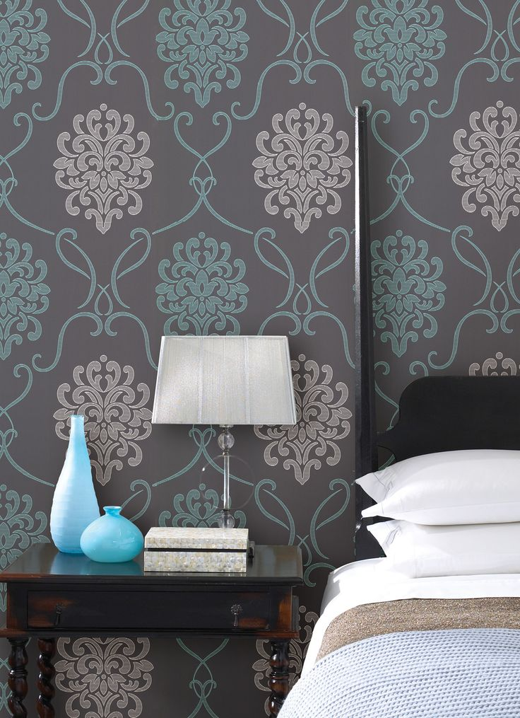 turquoise blue and with bedroom decor idea with a feature wall behind the  bed wallpaper. 131 best Brewster Wallcovering images on Pinterest   Wallpaper