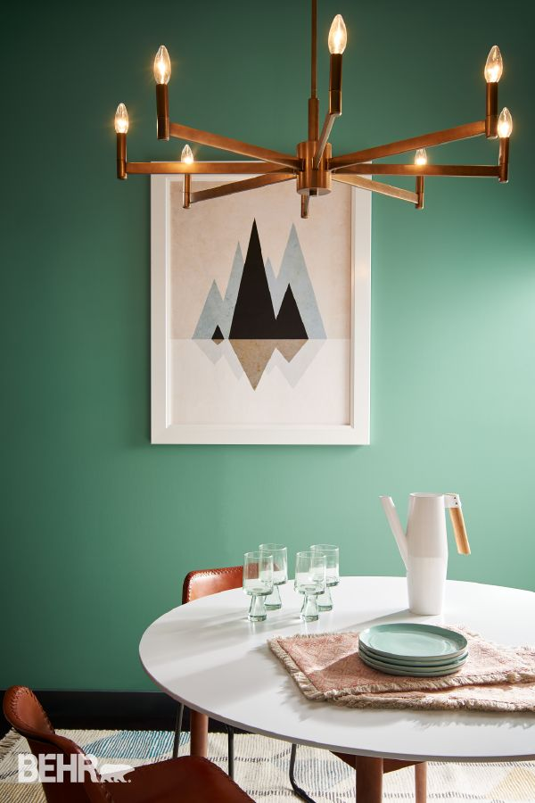 Jade Dragon An Exotic Blue Green Packs A Playful Punch In This Dining Space