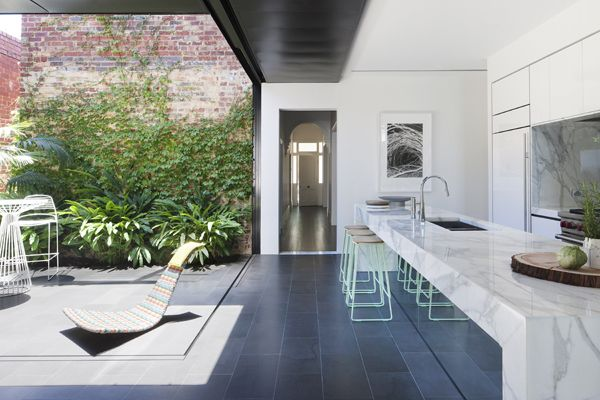 Matt Gibson Architecture and Design | Abstract House; indoor outdoor, kitchen and internal courtyard