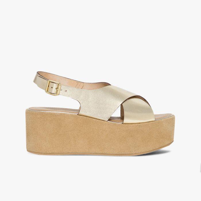 Sandale à plate forme en cuir lisse coloris or