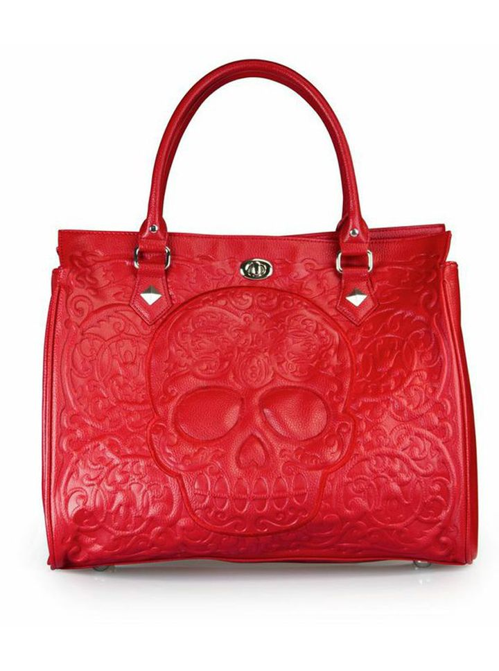 """Red on Red Skull Lattice"" Tote Handbag by Loungefly (Red) #InkedShop #skull #sugarskull #bag #purse #style #fashion #tote #handbag"