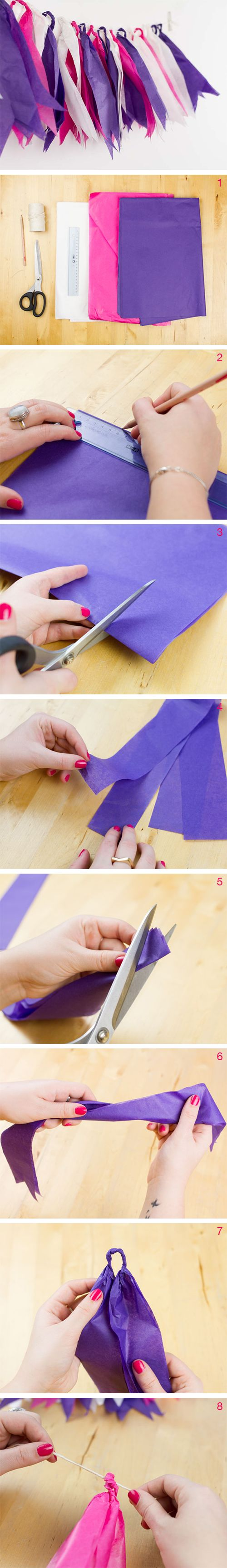 DIY kostenlose Anleitung: Seidenpapier-Girlande, Party Deko, Feste feiern // DIY free tutorial: wrapping tissue garland, party decoration via DaWanda.com