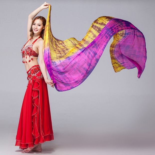 Women Dancewear 100% Silk Colored Scarf Light Texture Belly Dance Accessories Women Silk Veils Tie Dye #Affiliate