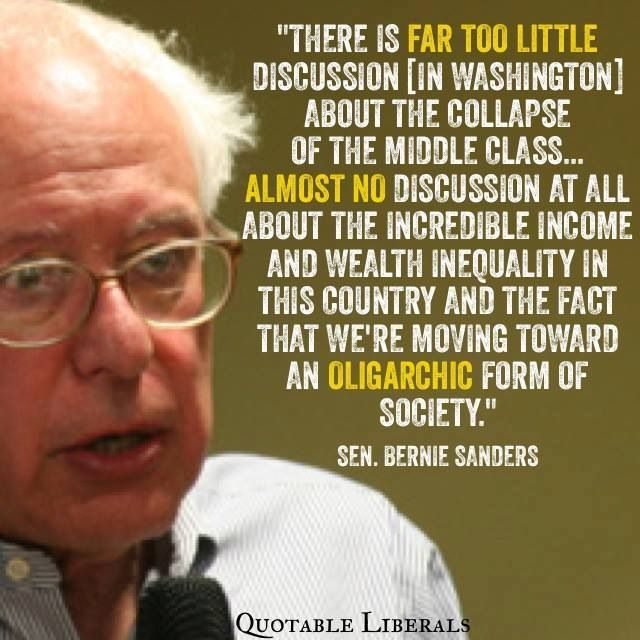 Sen. Bernie Sanders.   Vanishing middle class.  Income inequality.    Income disparities.  Politics