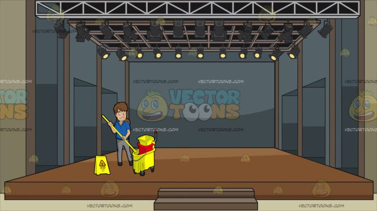 A Female Janitor Wringing Out A Mop At A Theater Stage :  A woman with brown hair wearing a blue polo shirt gray pants dark gray belt and shoes smiles while placing the yellow mop in her hands into the yellow and red mop bucket with wringer a yellow wet floor sign is placed beside her. Set in a stage with brown flooring stairs installed at the center ceiling spotlights gray walls and paths.