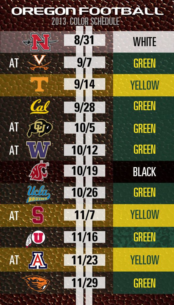 The Oregon Ducks Game Day Color Schedule for 2013 #GoDucks