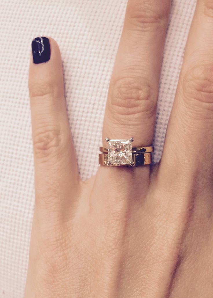 Elegant My engagement ring and wedding band yellow gold carat princess cut diamond solitaire with yellow gold Cartier Love band