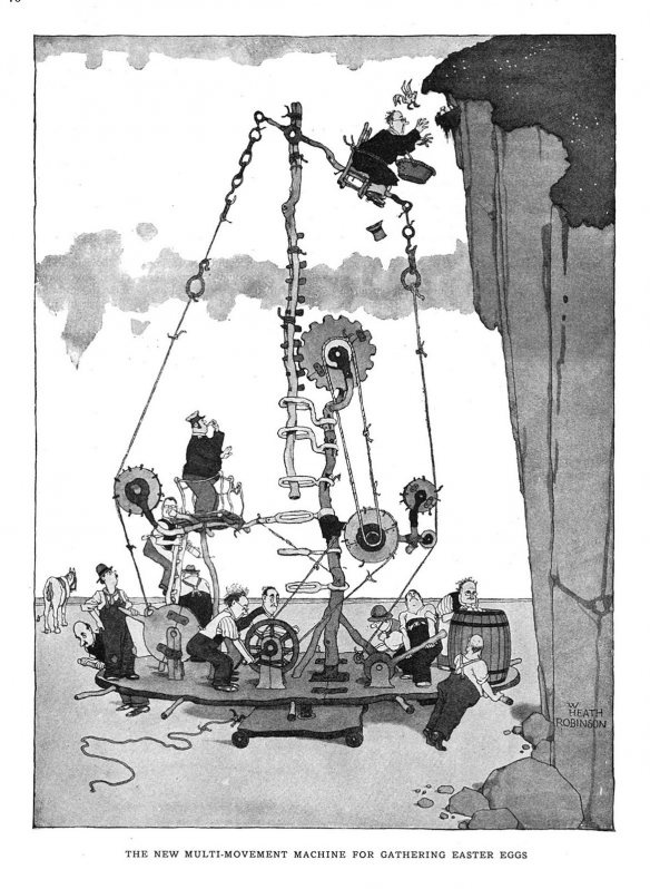 Heath Robinson Machine for gathering Easter eggs. The typical Heath Robinson creation was of some machine intent on serious purposes while managing some aspect of an preposterously over-complicated construction of magnets, pulley wheels and conveyor belts, all linked and controlled by lengths of knotted string.