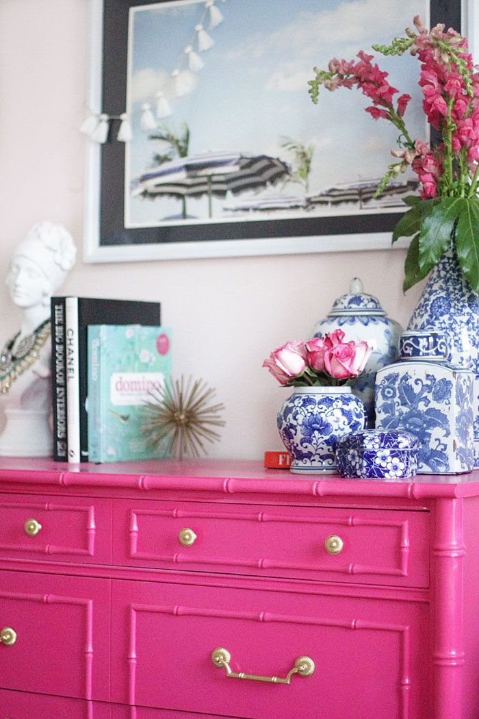 Guest Bedroom | Bright Bedroom | Floral Pillows | Embroidered Pillow | Pink Chest | Bamboo Dresser | Be Our Guest | DIY Project www.styleyoursenses.com