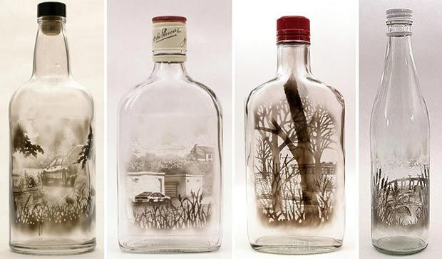 Bottled art: smoke paintings by Jim Dingilian