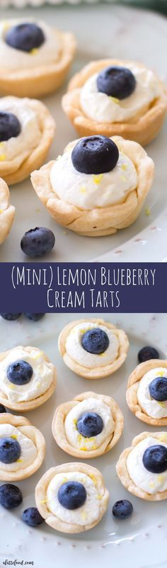 These mini lemon blueberry cream tarts are tasty, adorable, and could not be easier! Mini pie crusts are filled with lemon cream and topped with blueberries and lemon zest!