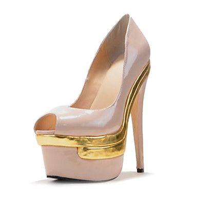 Stiletto Plataforma Peep Toe couro de patente das Mulheres Bombas calçados casuais - BRL R$ 222,27
