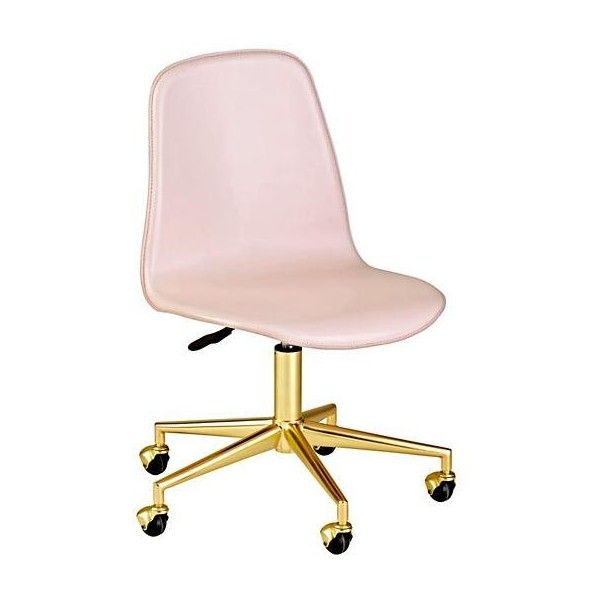 Class Act Pink Gold Desk Chair liked on Polyvore featuring