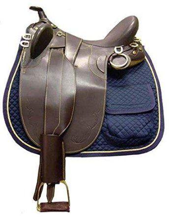 Derby Originals Australian Saddle Pad with Half Fleece and Pockets - Black