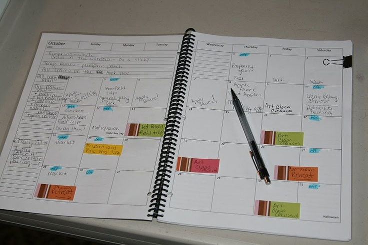 Use post-it tabs for projects on the monthly calendar then actually write on the completed date. No more messy calendars!: Organizations Ideas, Activities Kids, Kids Ideas, Journals Ideas, Classroom Organizations, Households Mgmt, Clever Ideas, Classroom Ideas, Households Notebooks