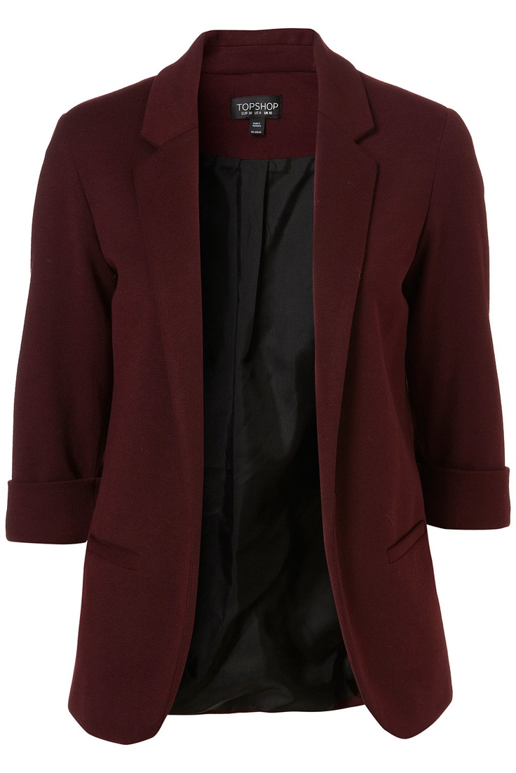 Oxblood Ponte Blazer,add spike necklace, and black skinnys