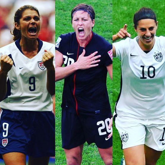 The three Americans to win the Female World Player of the Year award: Mia Hamm, Abby Wambach, Carli Lloyd. (Instagram)
