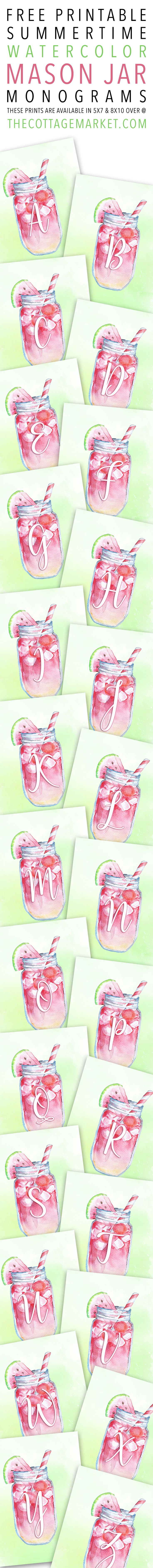 Free Printable Summertime Watercolor Mason Jar Monograms | The Cottage Market | Bloglovin'