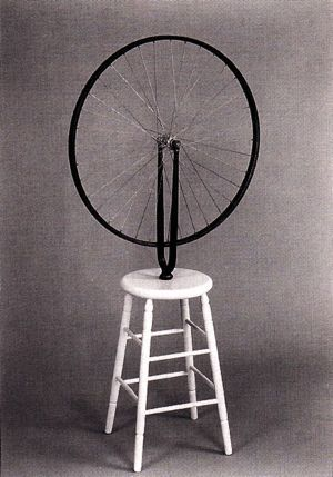 Marcel Duchamp Bicycle Wheel, 1913 Dadaism These works use unorthodox techniques to shock society into self-awareness and mock materialistic and nationalistic attitudes by; challenging the artistic norms, using ready made objects, manipulating them a little and then presenting it as art.  This specific piece shows these qualities through its anti-art perception, using a ready made bicycle wheel and sticking it on top of a ready made stool.