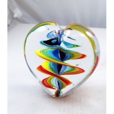 Murano Design: Twisted Rainbow Ribbon in Heart Paperweight ~~ unique, handmade and mouth blown