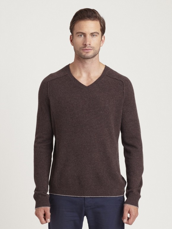 INHABIT Mens Tipped Cashmere V-Neck - Quill