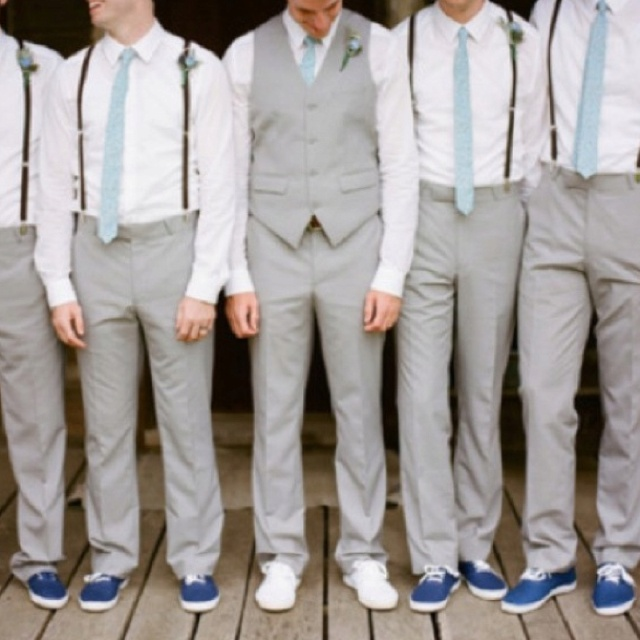 khaki instead of grey... i like the blue ties (matches bridesmaids) and suspenders!