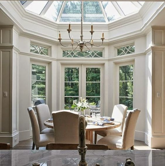 Beautiful Traditional Dining Room Design With Two Story Windows Round Table  Parsons Chairs; I Dig The Window Design