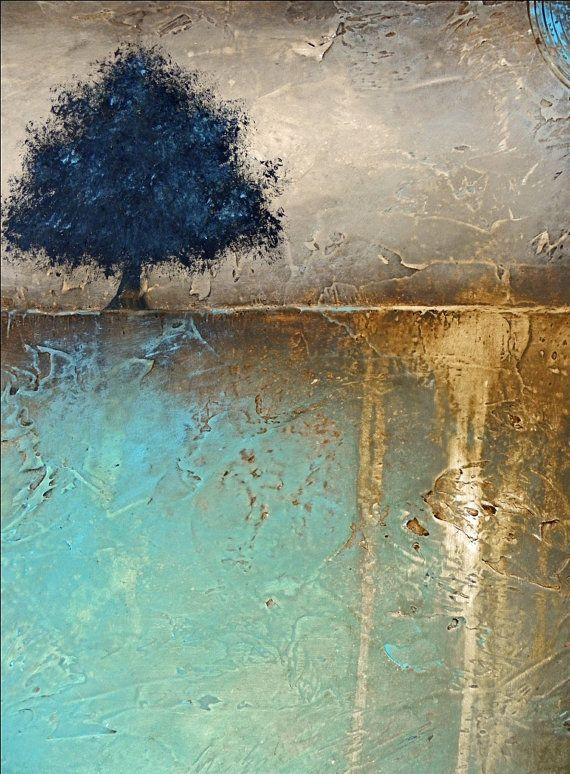 Árbol abstracta pintura con resorte de tierra de textura