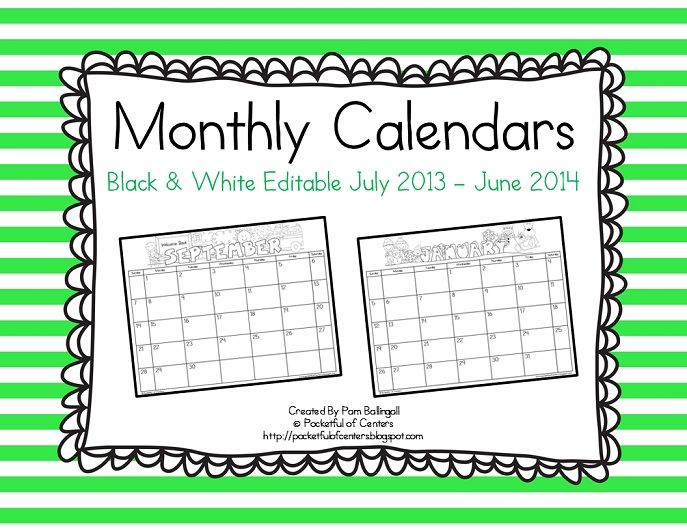 Editable Calendar Kindergarten : Monthly editable calendars