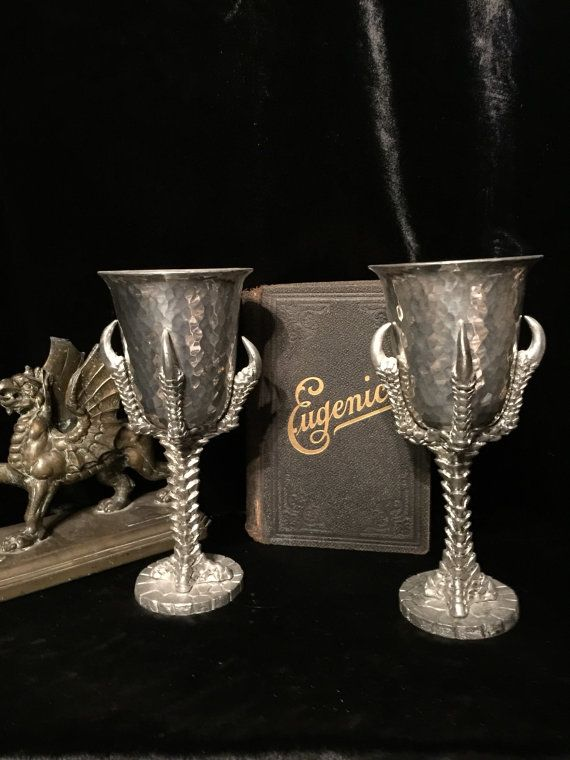 Occult Altar Chalices Pair Of Vintage Claw Foot Chalices Wicked Goblets At Gothic Rose Antiques