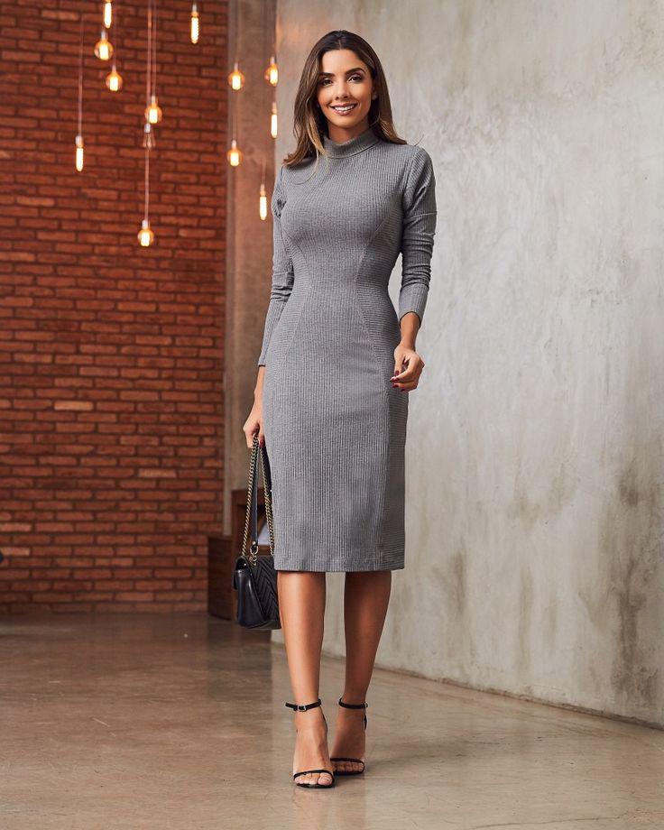Vestido Rosely Cinza em 2021 | Moda confortável, Vestidos, Ideias fashion
