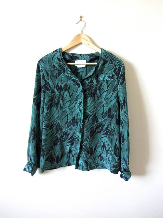 80s Vintage Green and Black Pattern Button Up Blouse