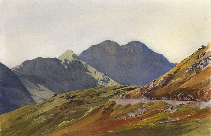 Link to Lliwedd from Penygwryd, an original watercolour painting by Rob Piercy
