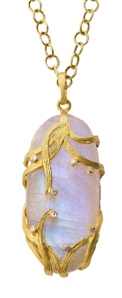Lemongrass Moonstone & Diamond Pendant Necklace in 18k Yellow Gold by Laurie Kaiser - www.lauriekaiser.com/