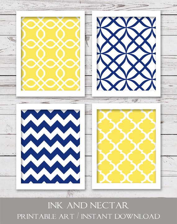 Printable Art Set Navy Blue Yellow Art by inkandnectardigital
