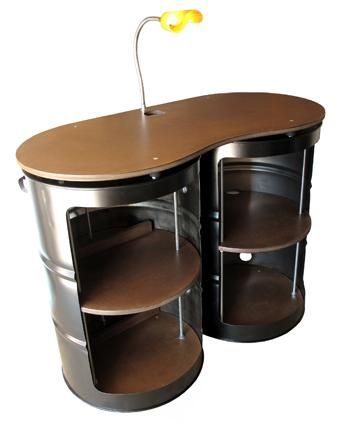 Old oil barrels #upcycled and #repurposed into a desk