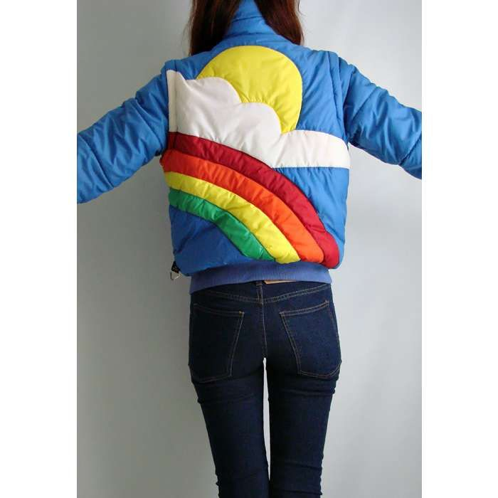 Vtg 70s Retro RAINBOW SKI COAT Zip Out VEST Jacket S    raionbows and suns.  who doesnt want that on their jacket?