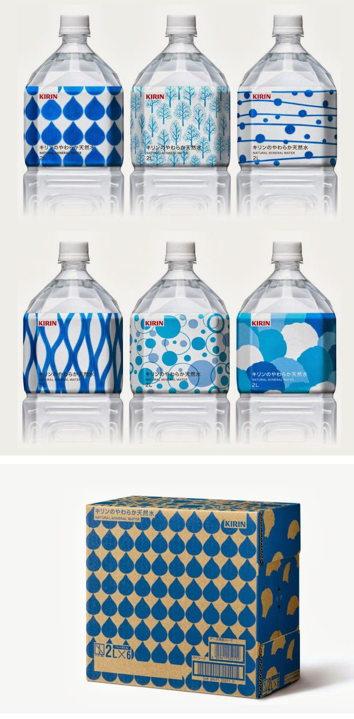 Kirin Natural Mineral Water / Designed by SAGA Inc, Japan. beautiful blue bottle and box #packaging  colors, patterns