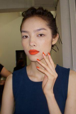Jason Wu, Diane Kendal   M.A.C. Lip Pencil in Redd, M.A.C. Lipstick in Scarlet, M.A.C. Neo-Orange Pigment, OPI Monsooner or Later
