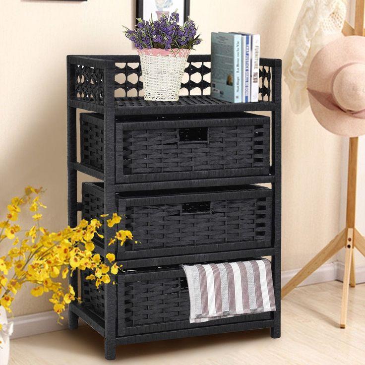 Costway 3 Drawer Storage Unit Tower Shelf Wicker Baskets Storage Chest Rack Black (Wood)