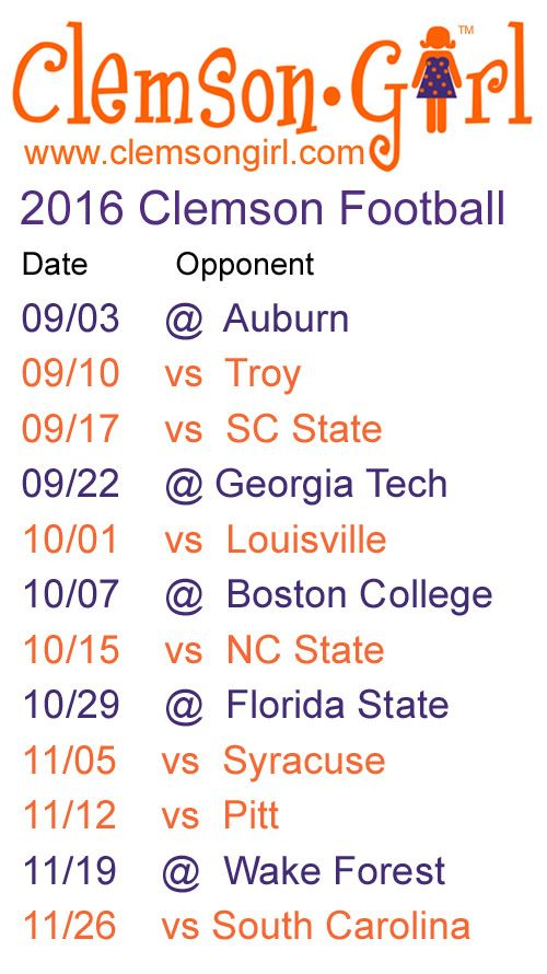 Clemson Girl - 2016 Clemson Football Schedule