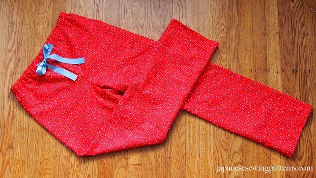 Japanese sewing patterns - Free Women's PJ Pajama Pants Sewing Pattern